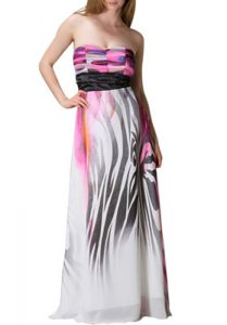 strapless printed maxi dress